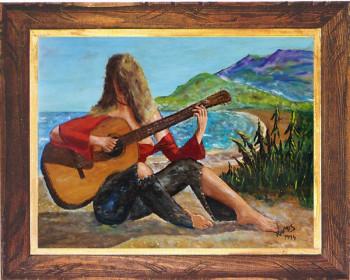 Jeune fille inconnue à la guitare 1974 sur le site d'ARTactif