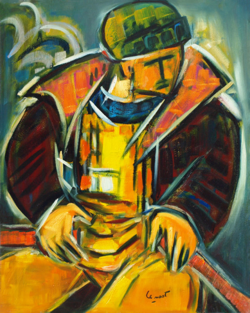 Le pêcheur dans sa barque sur le site d'ARTactif
