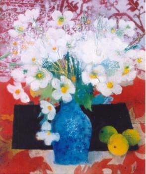 Le bouquet blanc au vase bleu sur le site d'ARTactif